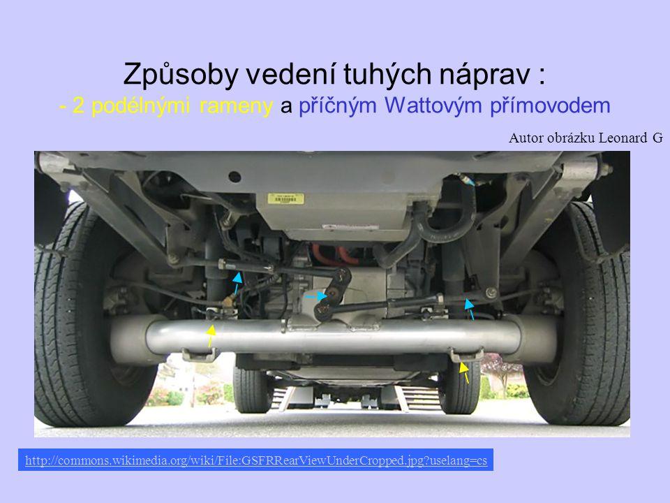 Způsoby vedení tuhých náprav : - 2 podélnými rameny a příčným Wattovým přímovodem