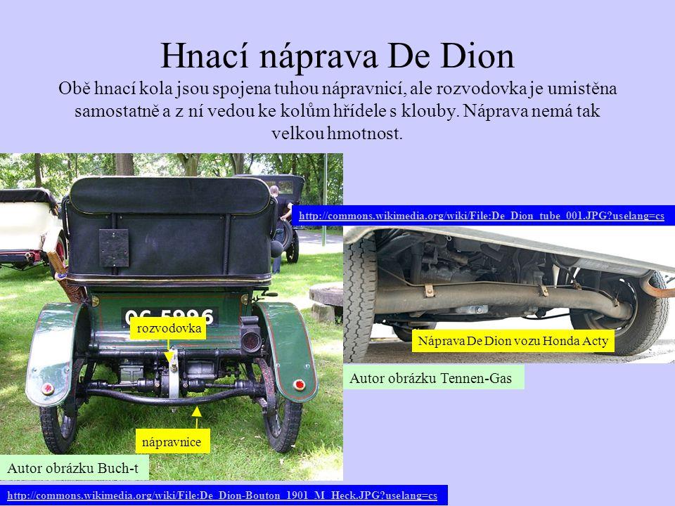 Hnací náprava De Dion Obě hnací kola jsou spojena tuhou nápravnicí, ale rozvodovka je umistěna samostatně a z ní vedou ke kolům hřídele s klouby. Náprava nemá tak velkou hmotnost.