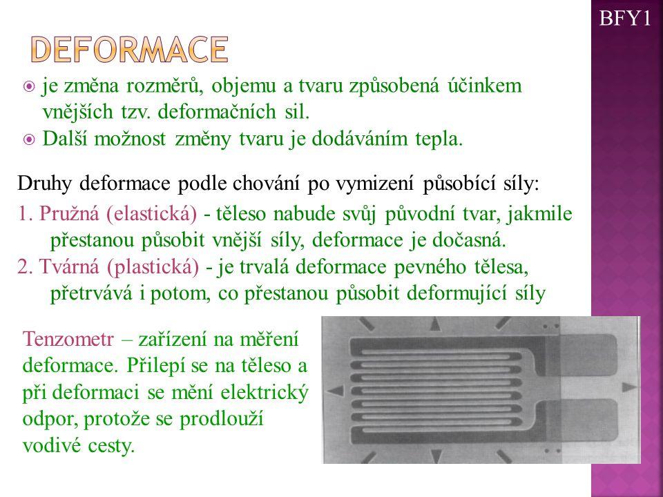 BFY1 deformace. je změna rozměrů, objemu a tvaru způsobená účinkem vnějších tzv. deformačních sil.