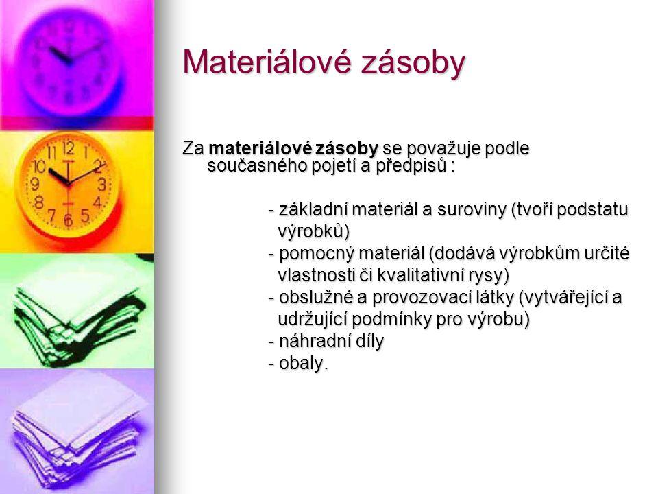 Materiálové zásoby Za materiálové zásoby se považuje podle současného pojetí a předpisů : - základní materiál a suroviny (tvoří podstatu.