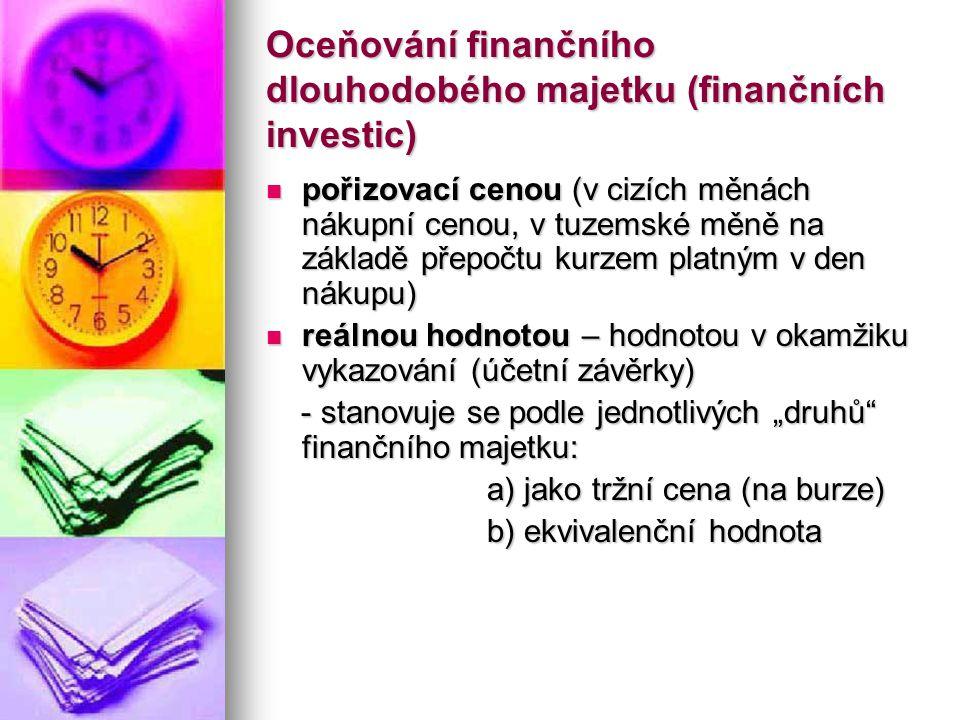 Oceňování finančního dlouhodobého majetku (finančních investic)