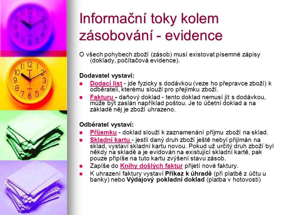 Informační toky kolem zásobování - evidence