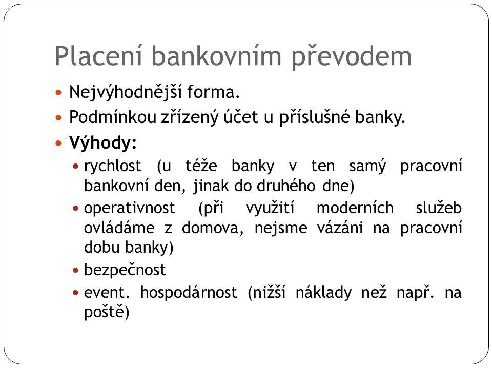 Placení bankovním převodem