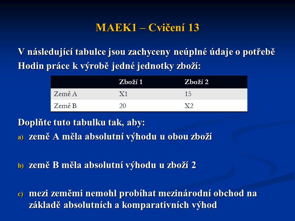 MAEK1 – Cvičení 13 V následující tabulce jsou zachyceny neúplné údaje o potřebě. Hodin práce k výrobě jedné jednotky zboží: