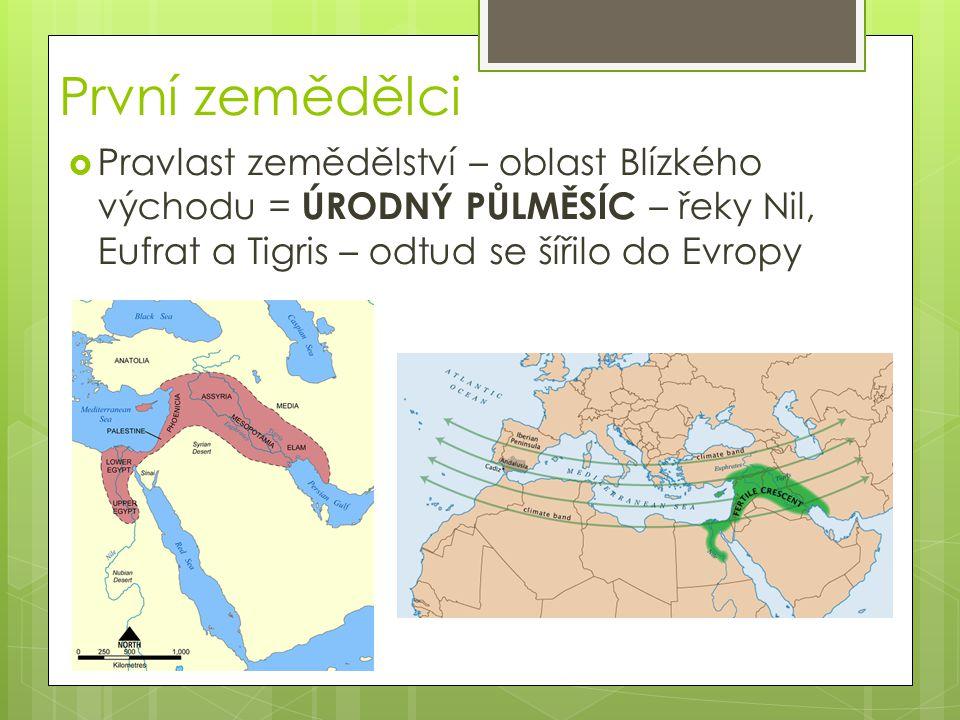 První zemědělci Pravlast zemědělství – oblast Blízkého východu = ÚRODNÝ PŮLMĚSÍC – řeky Nil, Eufrat a Tigris – odtud se šířilo do Evropy.