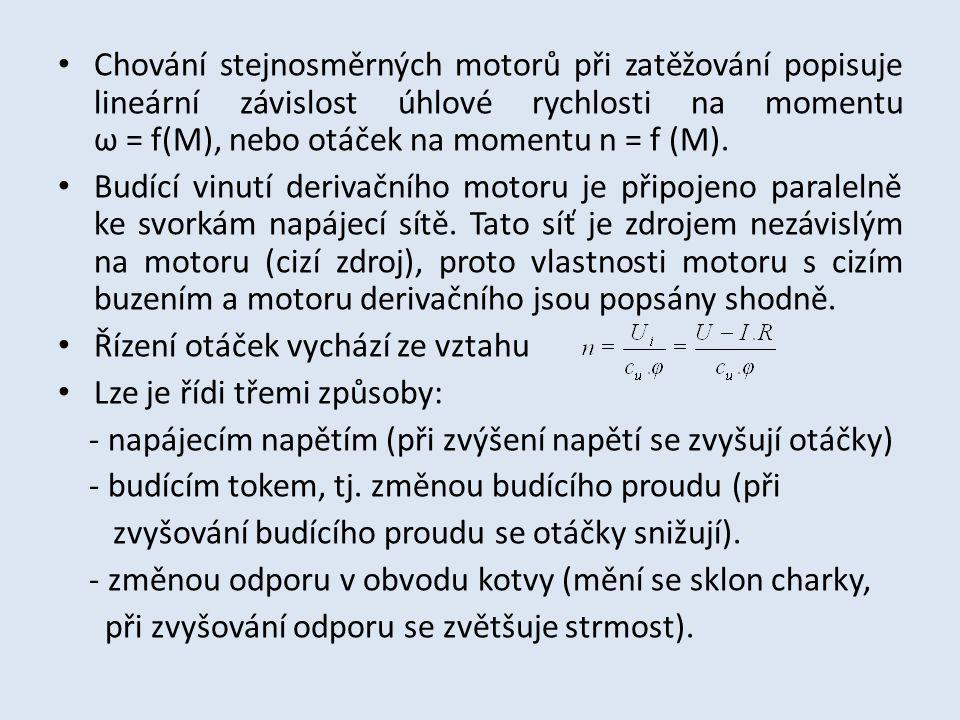 Chování stejnosměrných motorů při zatěžování popisuje lineární závislost úhlové rychlosti na momentu ω = f(M), nebo otáček na momentu n = f (M).