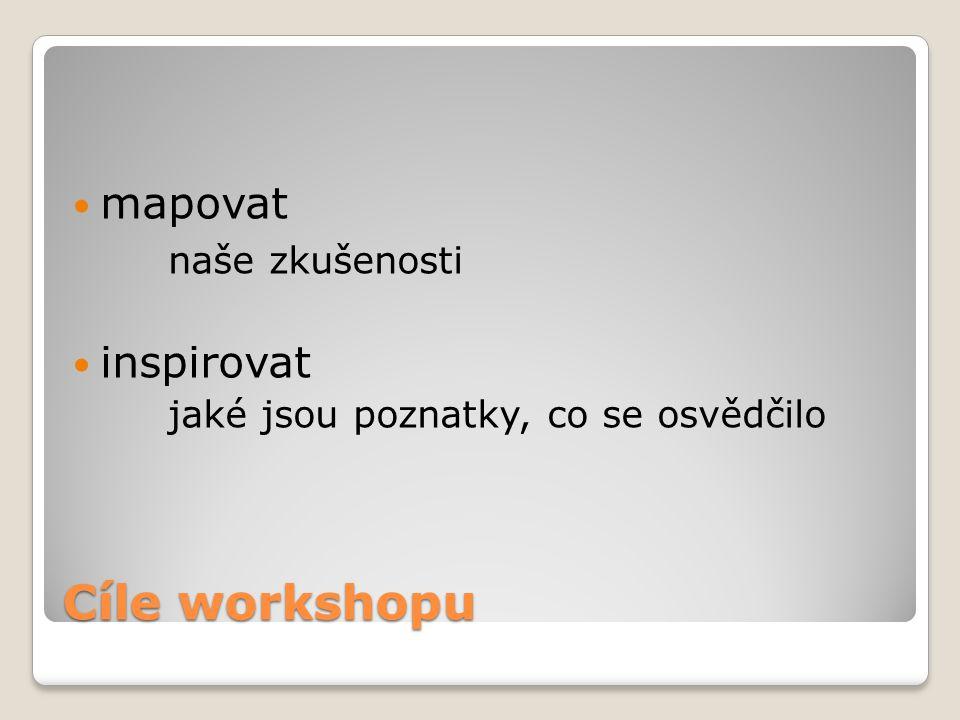 Cíle workshopu mapovat naše zkušenosti inspirovat