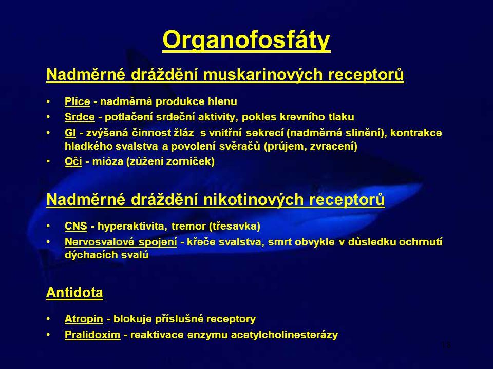 Organofosfáty Nadměrné dráždění muskarinových receptorů