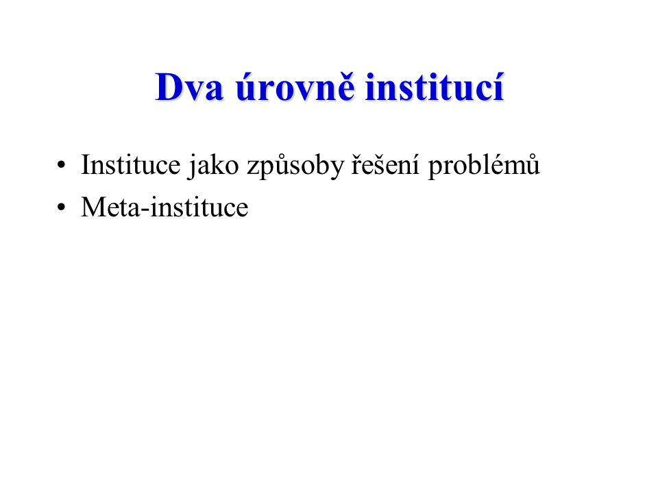 Dva úrovně institucí Instituce jako způsoby řešení problémů
