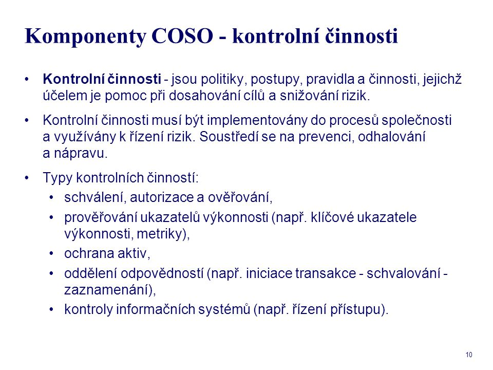 Komponenty COSO - kontrolní činnosti