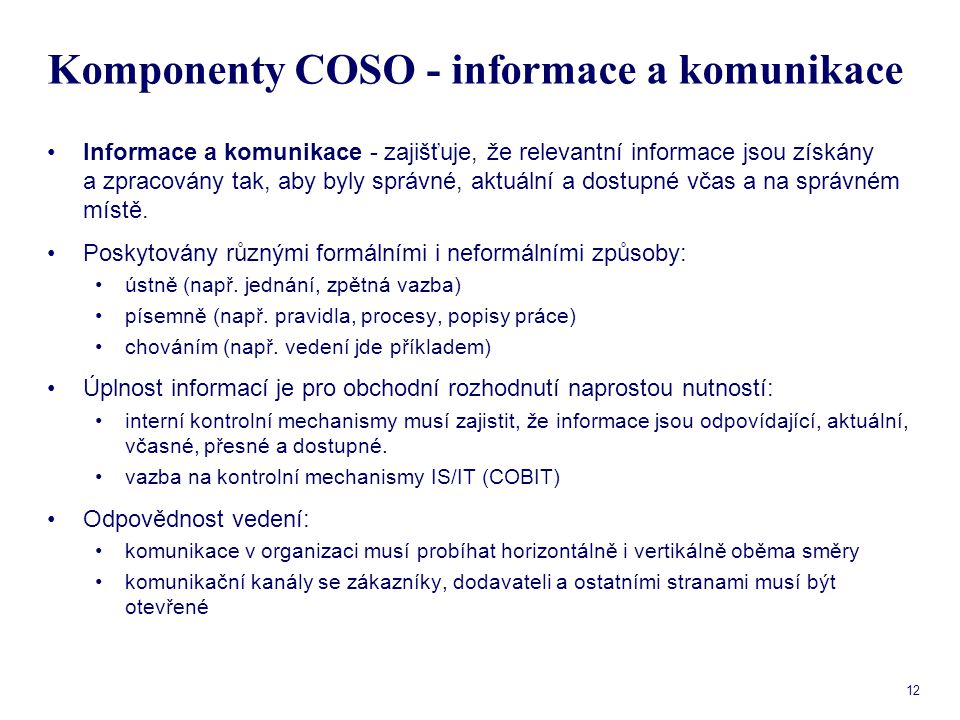 Komponenty COSO - informace a komunikace