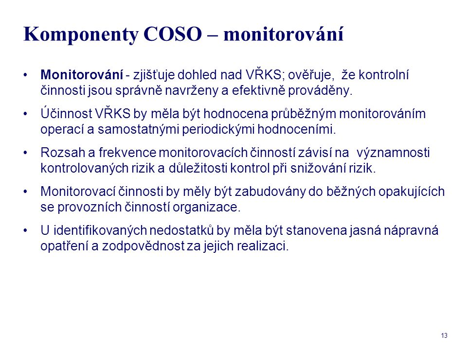 Komponenty COSO – monitorování