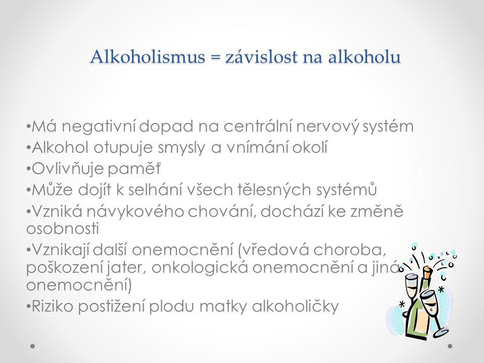 Alkoholismus = závislost na alkoholu