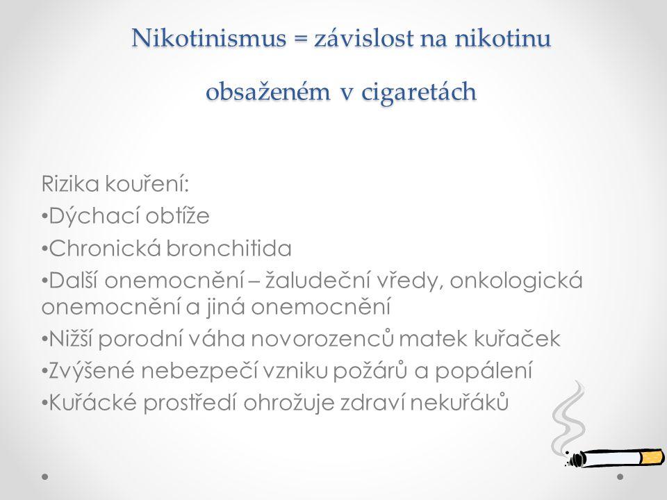 Nikotinismus = závislost na nikotinu obsaženém v cigaretách