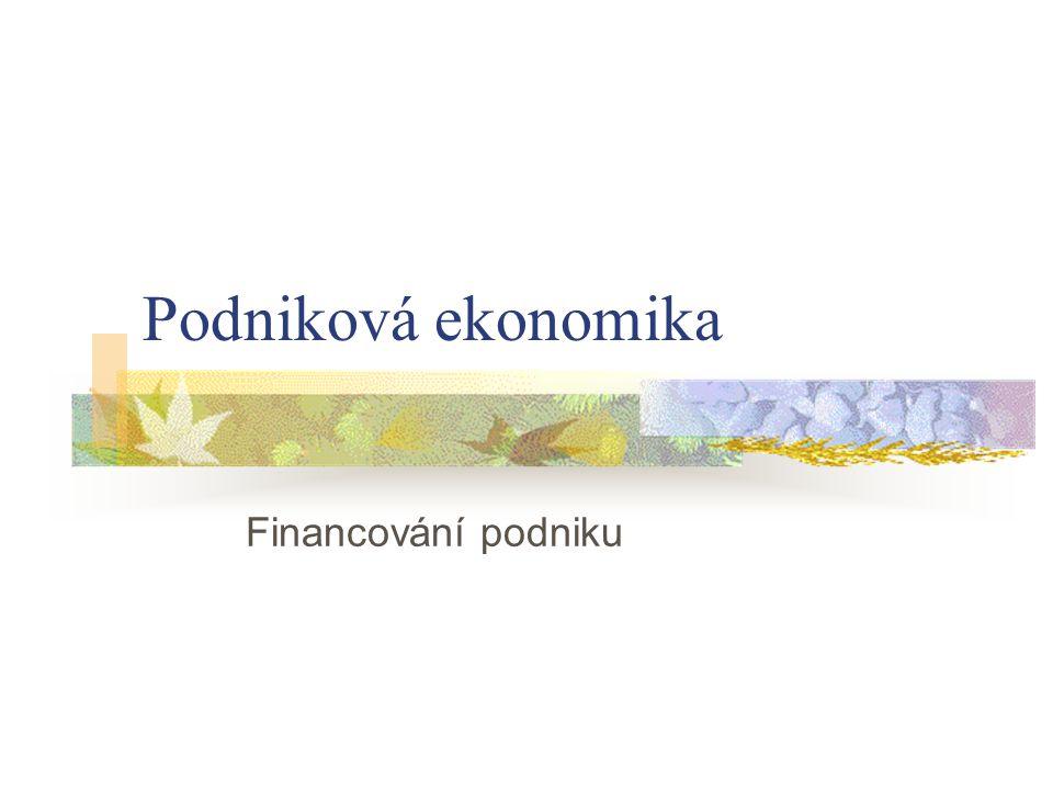 Podniková ekonomika Financování podniku