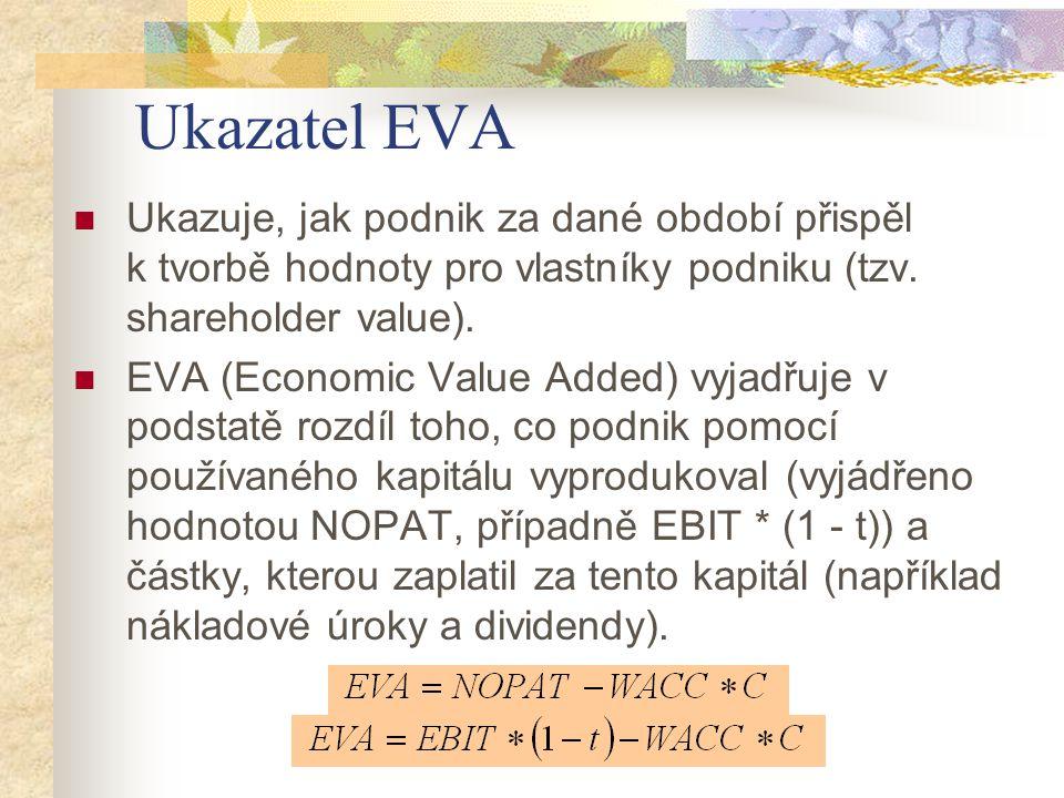 Ukazatel EVA Ukazuje, jak podnik za dané období přispěl k tvorbě hodnoty pro vlastníky podniku (tzv. shareholder value).