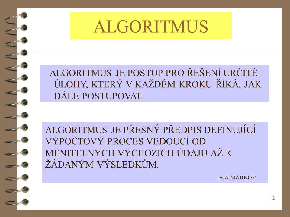 ALGORITMUS ALGORITMUS JE POSTUP PRO ŘEŠENÍ URČITÉ ÚLOHY, KTERÝ V KAŽDÉM KROKU ŘÍKÁ, JAK DÁLE POSTUPOVAT.