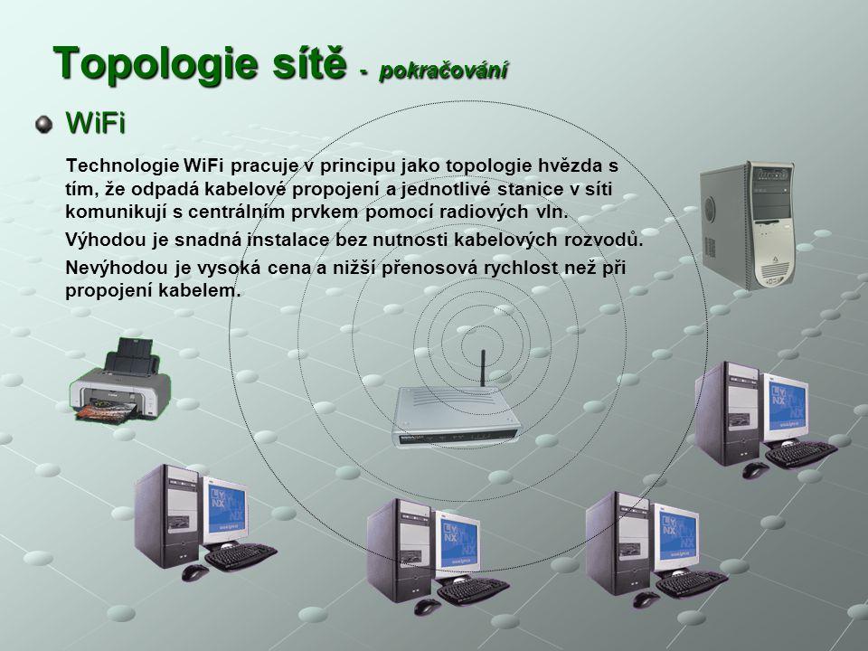 Topologie sítě - pokračování