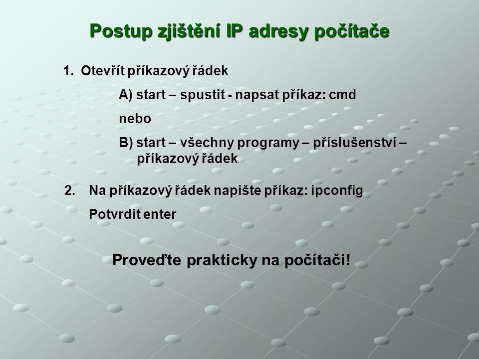 Postup zjištění IP adresy počítače