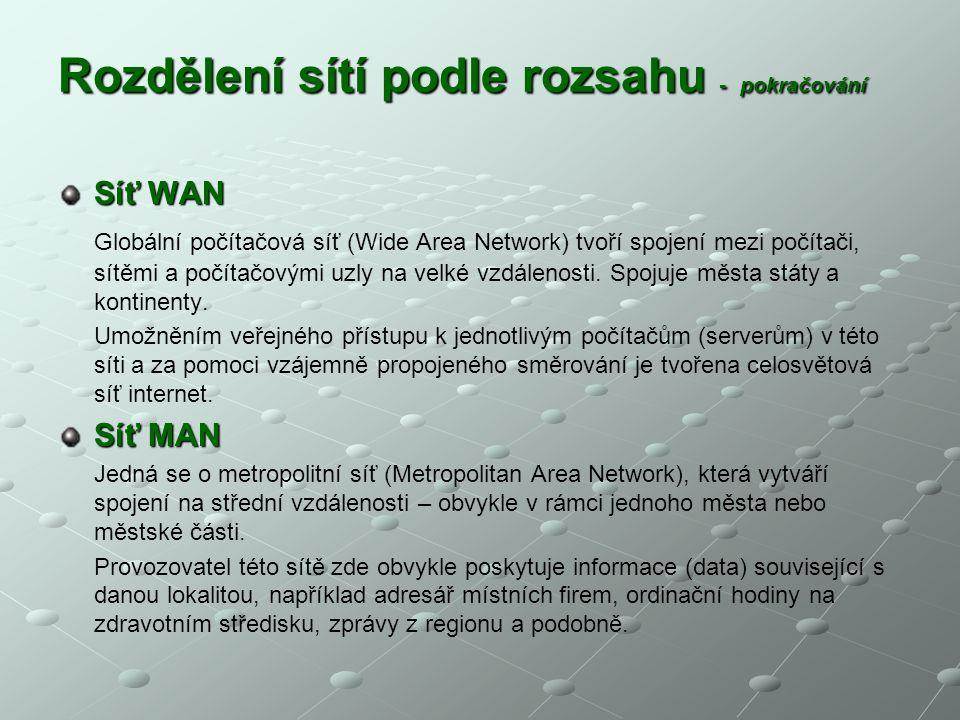 Rozdělení sítí podle rozsahu - pokračování