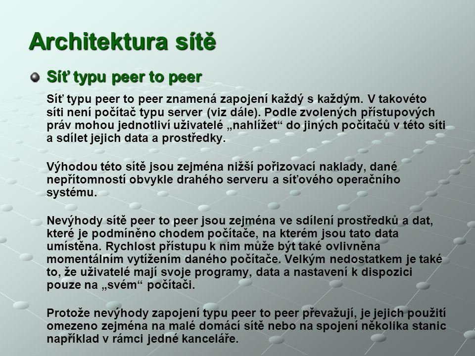Architektura sítě Síť typu peer to peer