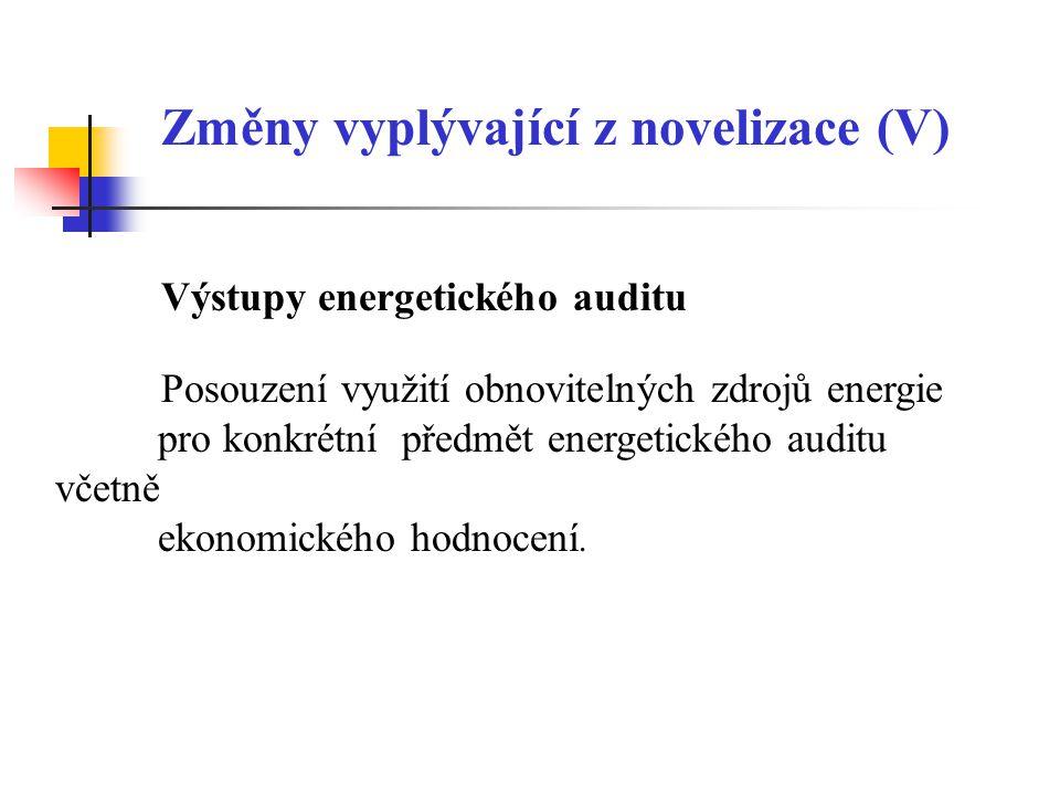 Změny vyplývající z novelizace (V)