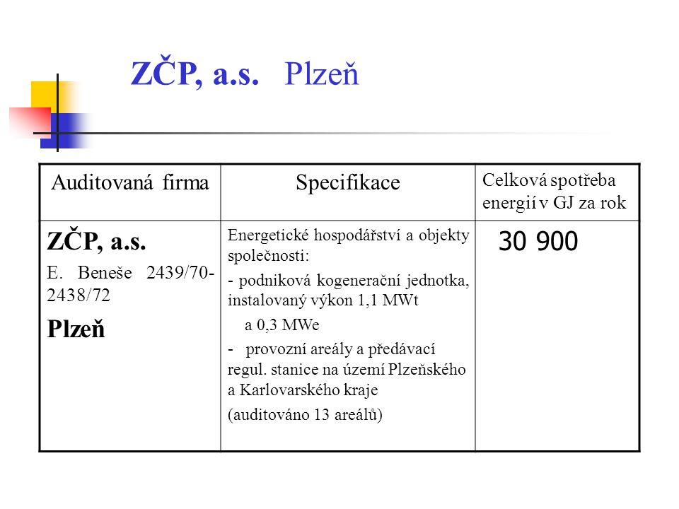 ZČP, a.s. Plzeň ZČP, a.s. Plzeň 30 900 Auditovaná firma Specifikace