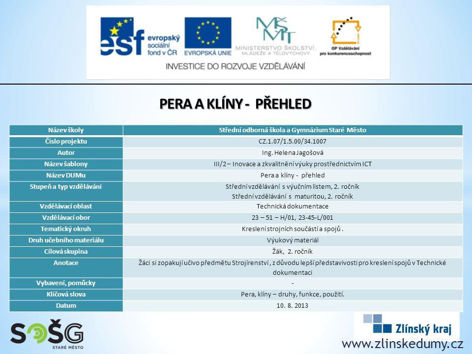 PERA A KLÍNY - přehled www.zlinskedumy.cz Název školy