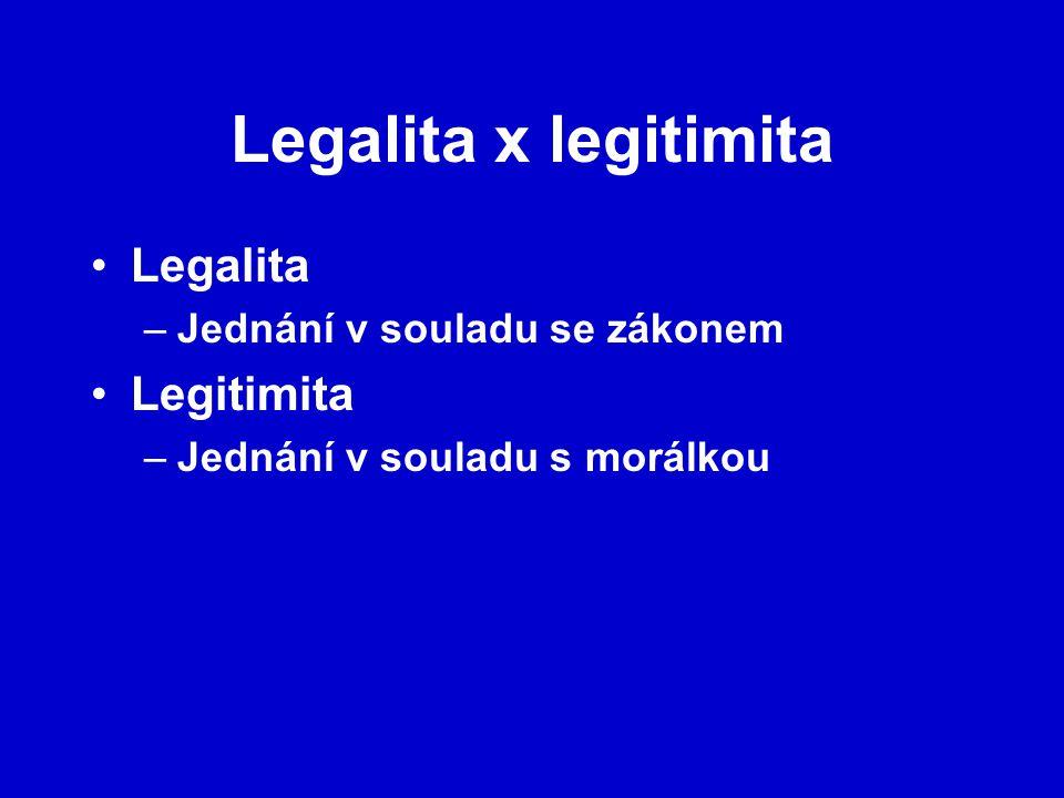 Legalita x legitimita Legalita Legitimita Jednání v souladu se zákonem