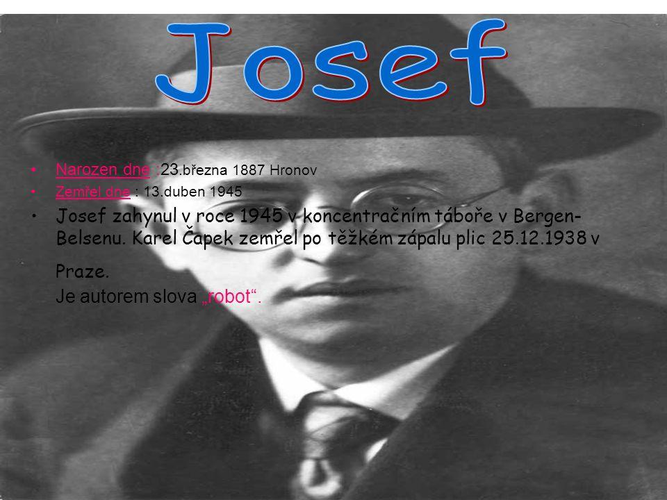 Josef Narozen dne :23.března 1887 Hronov. Zemřel dne : 13.duben 1945