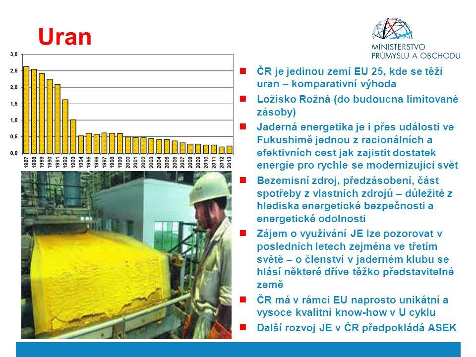 Uran ČR je jedinou zemí EU 25, kde se těží uran – komparativní výhoda