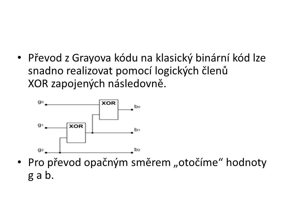 Převod z Grayova kódu na klasický binární kód lze snadno realizovat pomocí logických členů XOR zapojených následovně.
