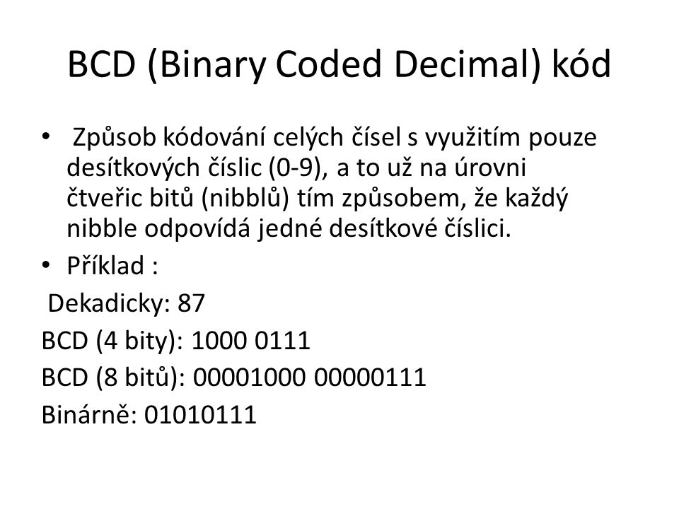 BCD (Binary Coded Decimal) kód