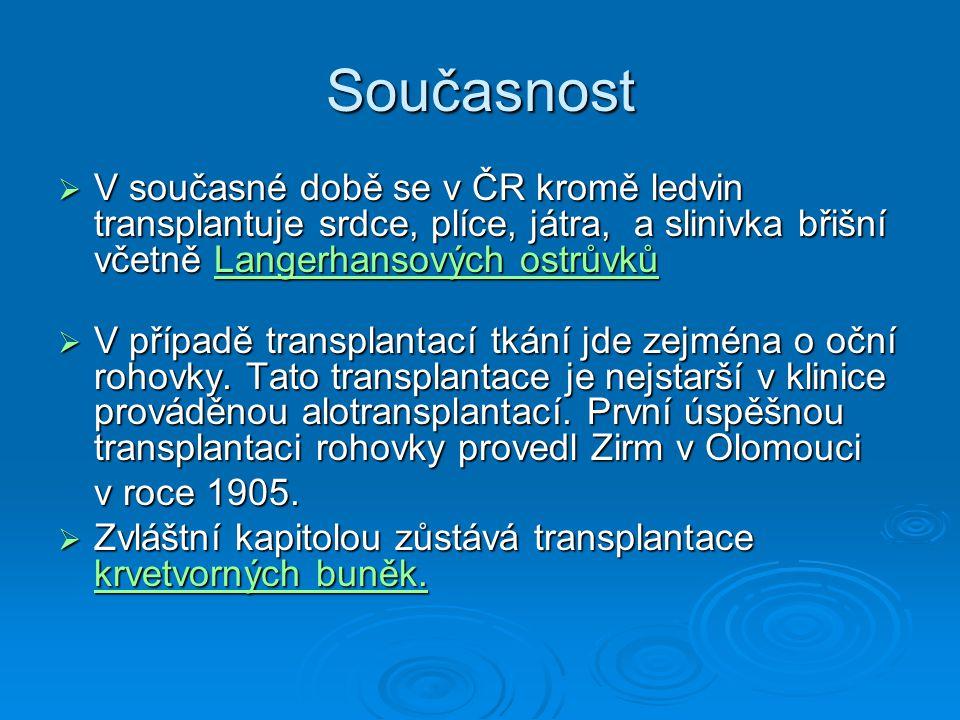 Současnost V současné době se v ČR kromě ledvin transplantuje srdce, plíce, játra, a slinivka břišní včetně Langerhansových ostrůvků.