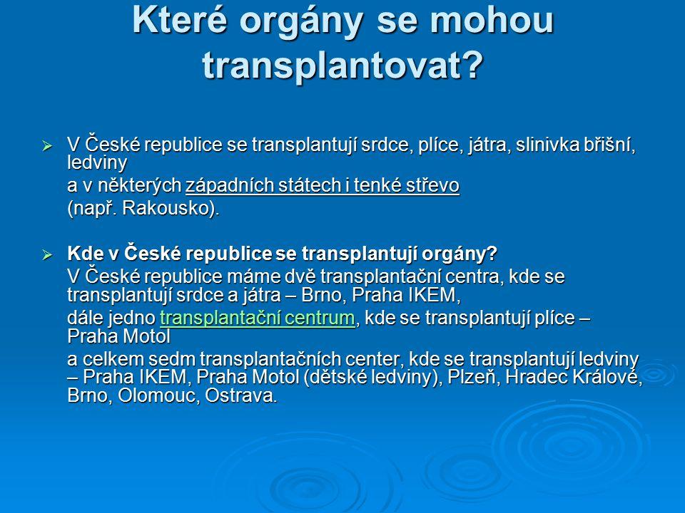 Které orgány se mohou transplantovat