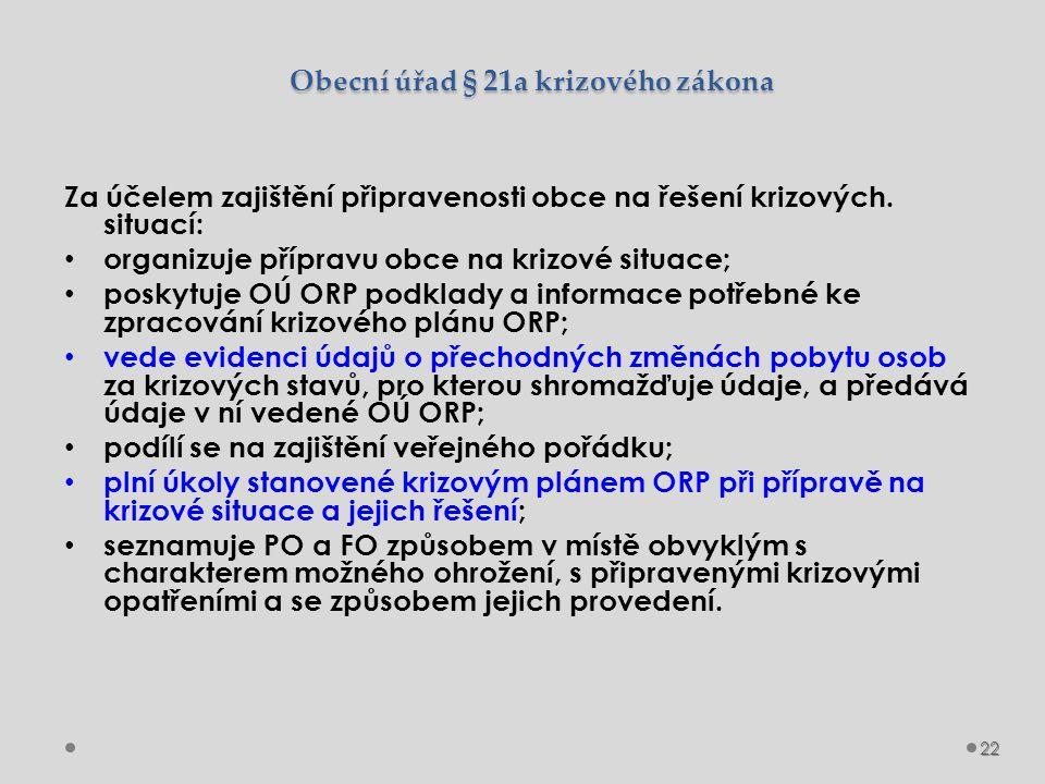 Obecní úřad § 21a krizového zákona