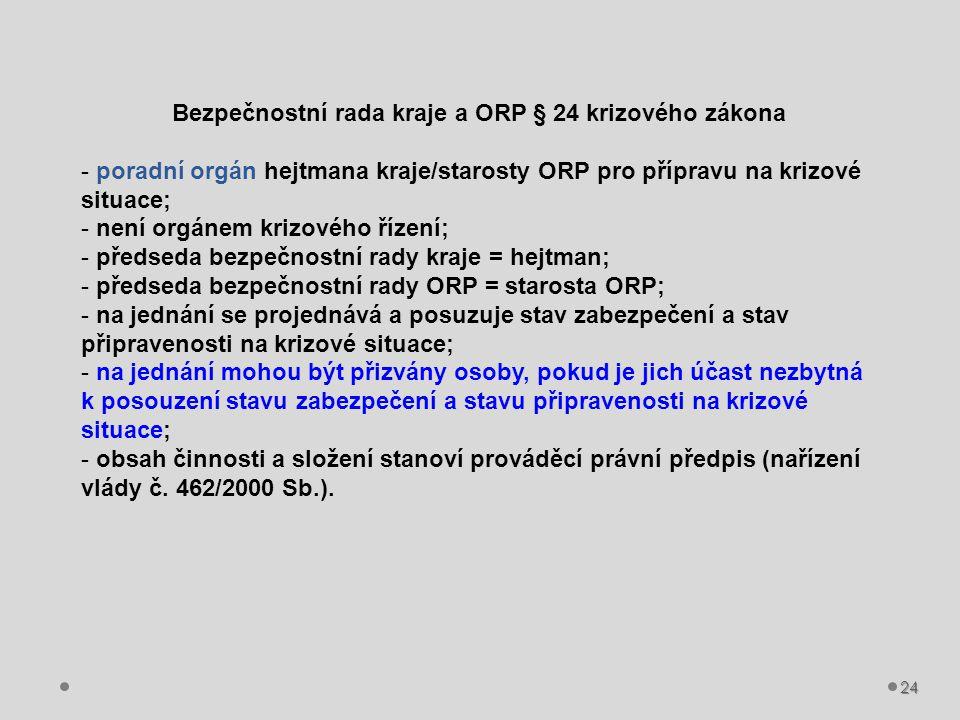 Bezpečnostní rada kraje a ORP § 24 krizového zákona