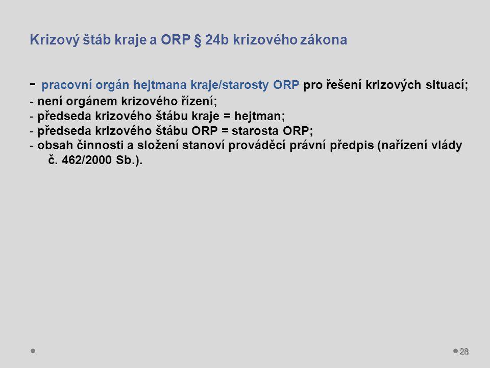 Krizový štáb kraje a ORP § 24b krizového zákona