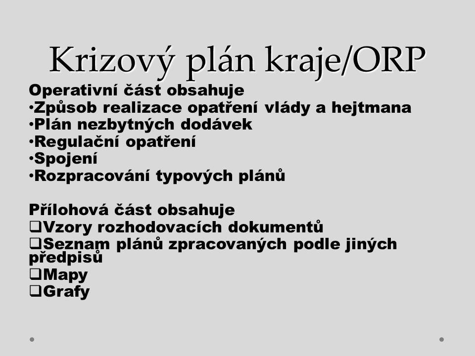 Krizový plán kraje/ORP