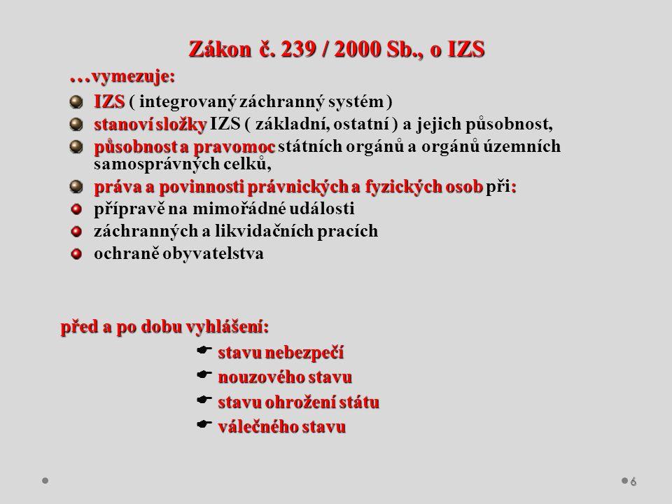 Zákon č. 239 / 2000 Sb., o IZS …vymezuje: