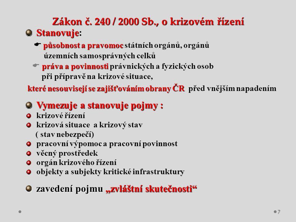 Zákon č. 240 / 2000 Sb., o krizovém řízení