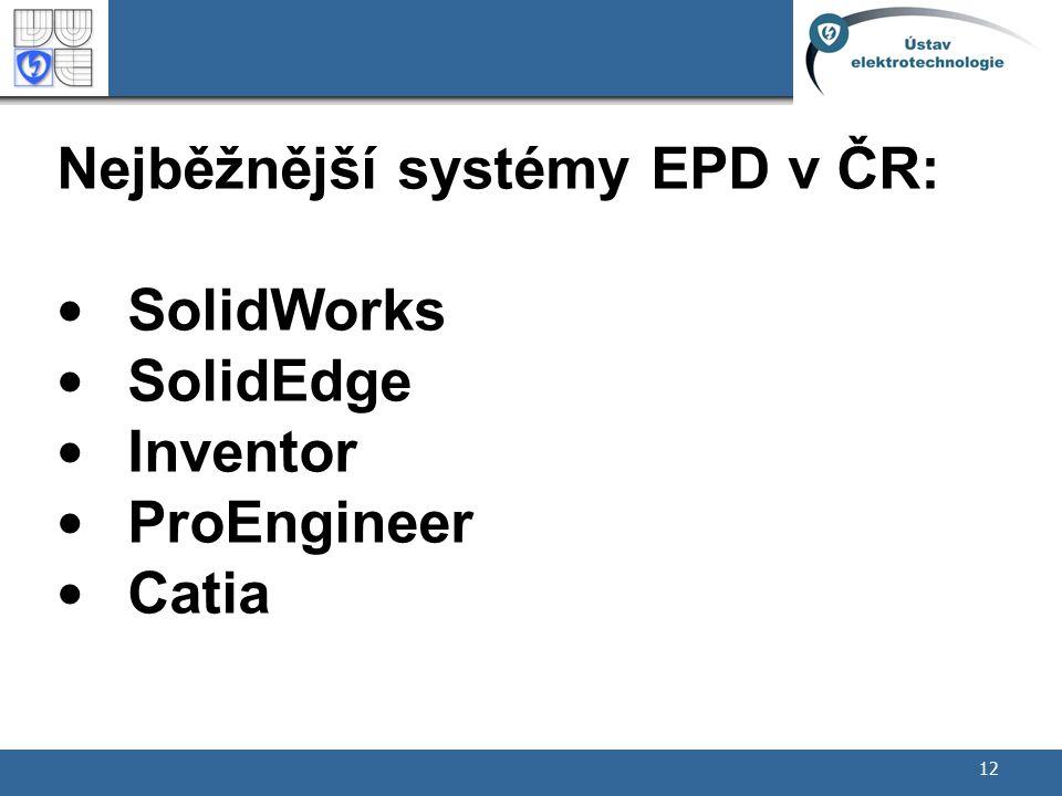 Nejběžnější systémy EPD v ČR: SolidWorks SolidEdge Inventor