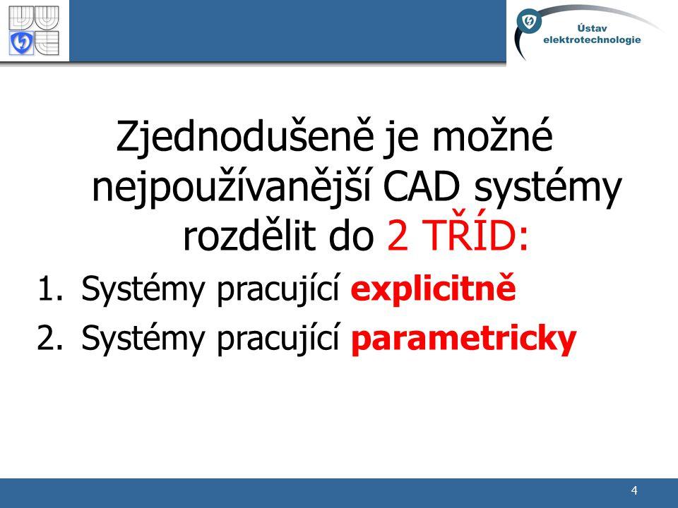 Zjednodušeně je možné nejpoužívanější CAD systémy rozdělit do 2 TŘÍD:
