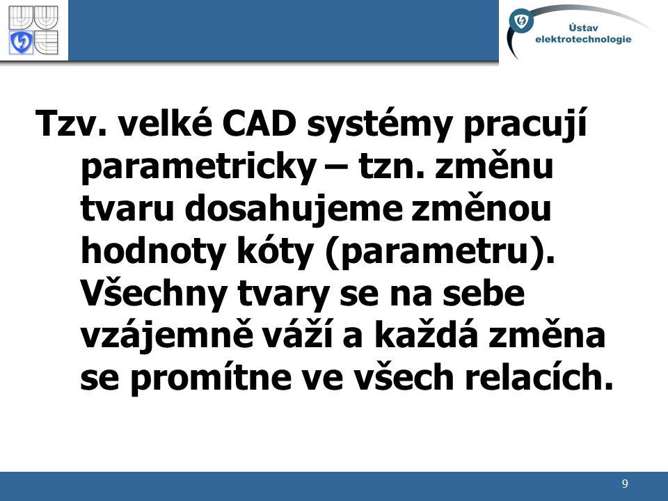 Tzv. velké CAD systémy pracují parametricky – tzn