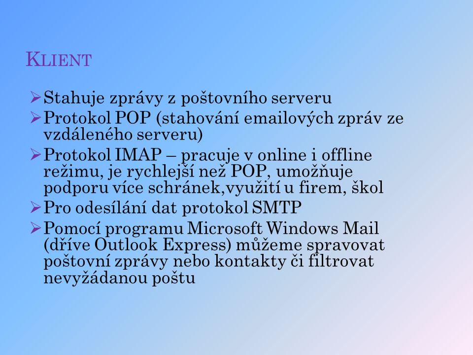 Klient Stahuje zprávy z poštovního serveru