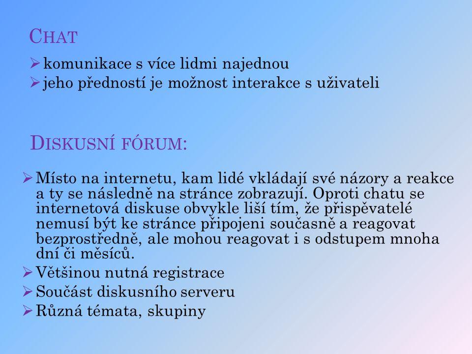 Chat Diskusní fórum: komunikace s více lidmi najednou