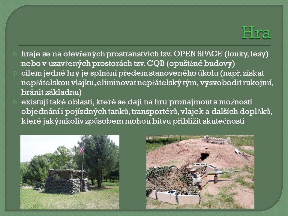 Hra hraje se na otevřených prostranstvích tzv. OPEN SPACE (louky, lesy) nebo v uzavřených prostorách tzv. CQB (opuštěné budovy)