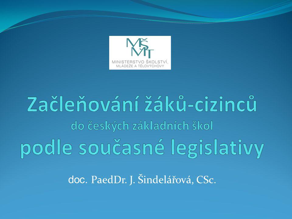 doc. PaedDr. J. Šindelářová, CSc.