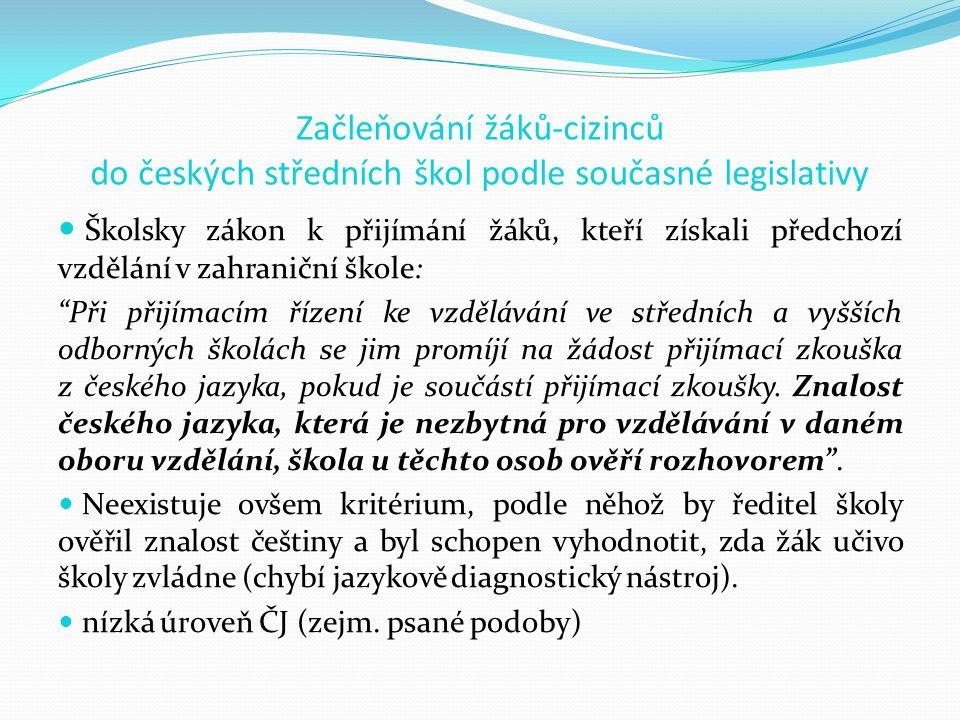 Začleňování žáků-cizinců do českých středních škol podle současné legislativy
