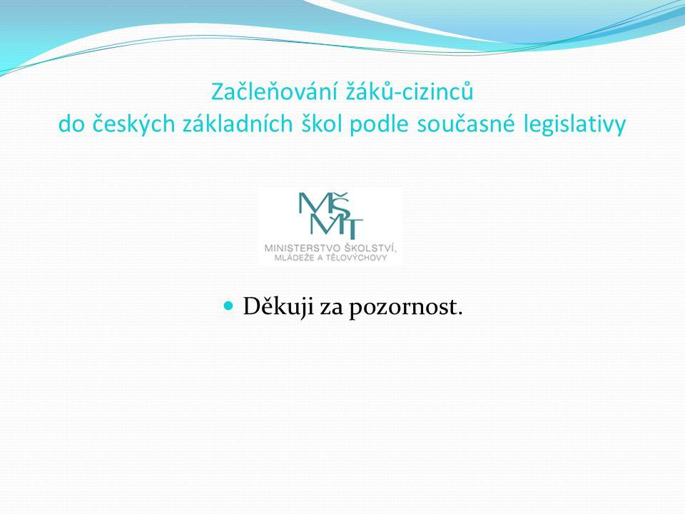 Začleňování žáků-cizinců do českých základních škol podle současné legislativy